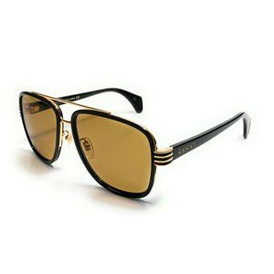 New Gucci Black & Gold Unisex Sunglasses